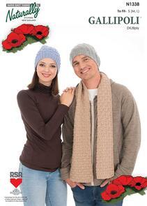 Naturally N1338 Knitting Pattern - Hats & Scarf