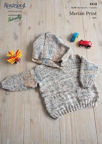 Naturally K418 Hooded Sweater Knitting Pattern