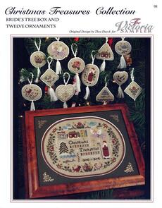The Victoria Sampler Christmas Treasures Collection - Bride's Tree Box & 12 Ornaments