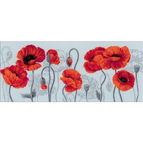 Riolis  Scarlet Poppies - Cross Stitch Kit Premium
