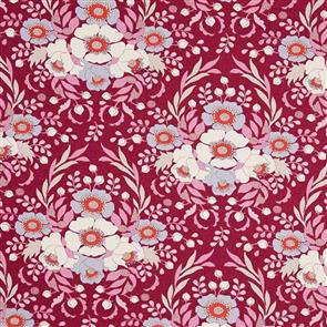 Tilda Tilda Fabric - Bird Pond Collection - Anemone Maroon