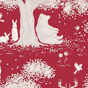 Tilda Tilda Fabric - Woodland Collection - Wooldland Carmine