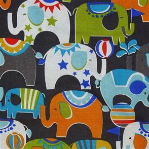 MISC  Blend Fabric - Circus Elephants Slate