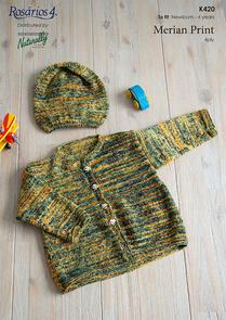 Naturally K420 Jacket and Hat Knitting Pattern