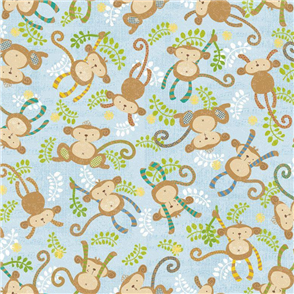 Blend Fabrics  Little Monkey - Jungle Light Blue