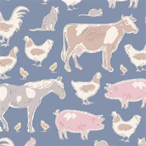 Tilda Tilda Fabric - Tiny Farm - Animals Blue