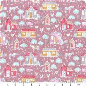 Tilda Tilda Fabric - Tiny Farm - Tiny Farm Mauve