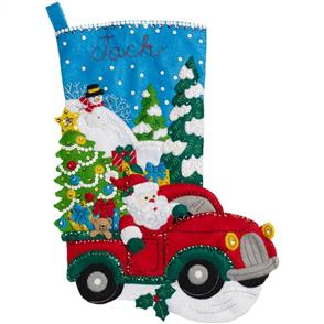 Bucilla  The Christmas Drive Stocking Felt Applique Kit