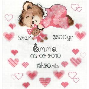 Riolis  Girls Birth Sampler - Cross Stitch Kit