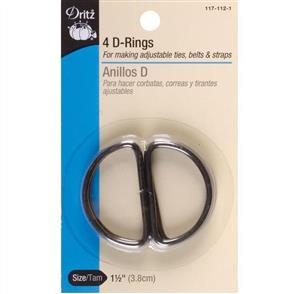 "Dritz Metal ""D"" Rings 1-1/2"" 4/Pkg - Black"