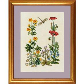 Eva Rosenstand  Cross Stitch Kit: Buttercup & Poppy