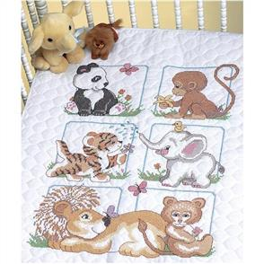 """Dimensions Quilt Stamped Cross Stitch Kit 34""""X43"""" Animal Babies"""