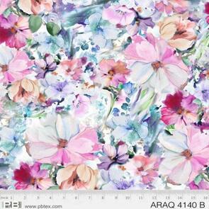 P & B Textiles Arabesque Watercolour Floral PB4140B