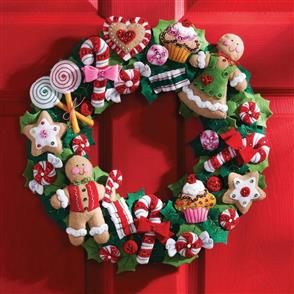 Bucilla Cookies & Candy Wreath Christmas Felt Applique Kit