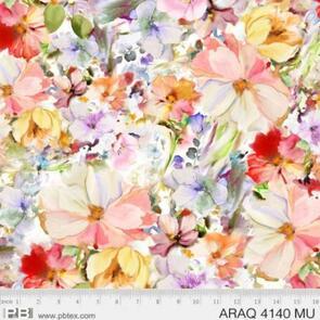 P & B Textiles Arabesque Watercolour Floral 4140MU