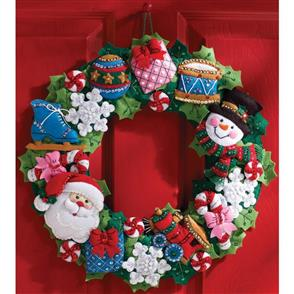 Bucilla Christmas Toys Wreath - Felt Applique Kit