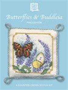 Textile Heritage  Butterflies & Buddleia Pincushion Cross Stitch Kit