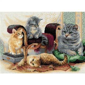 Riolis  : Feline Family - Counted Cross Stitch Kit