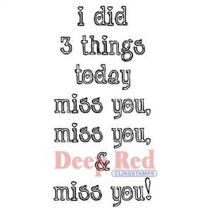 Die-Versions  Deep Red Miss You - Rubber Cling Stamp