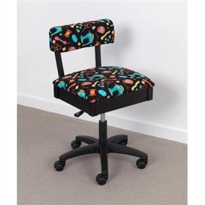 Horn Gaslift Sewing Chair - Black Colourful