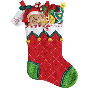 "Bucilla Felt Stocking Applique Kit 18"" Long"