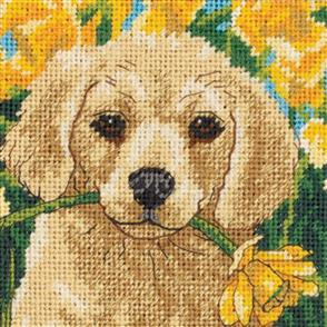 Dimensions  Mini Needlepoint Kit - Puppy Mischief Stitched In Floss