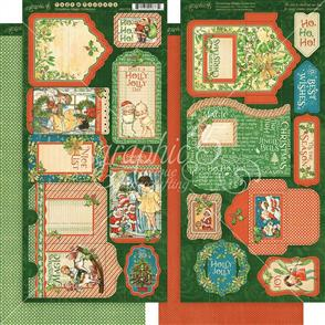 "Graphic 45  Christmas Magic Cardstock Die-Cuts 6""X12"" Sheets 2/Pkg - Tags & Pockets"