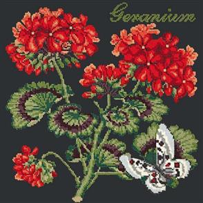 Elizabeth Bradley  Tapestry Kit - Geranium (black background)