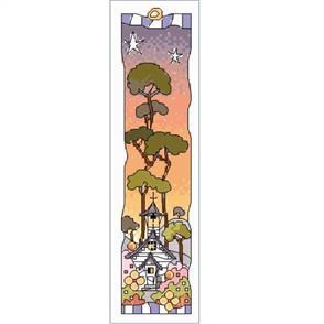 Michael Powell  Cross Stitch Bookmark - Small White Church Sunset