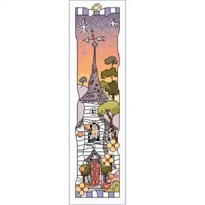 Michael Powell  Cross Stitch Bookmark - White Church Sunset