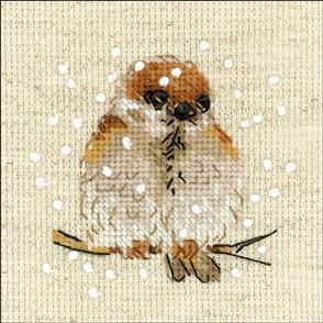 """Riolis  Counted Cross Stitch Kit 4""""X4"""" Sparrow (14 Count)"""