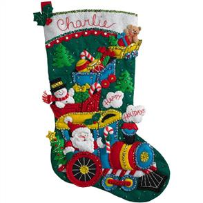 "Bucilla  Felt Stocking Applique Kit 18"" Long - Choo Choo Santa"