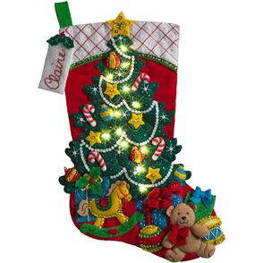 "Bucilla  Felt Stocking Applique Kit 18"" Long - Christmas Tree Surprise"
