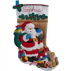 "Bucilla Felt Stocking Applique Kit 18"" Long - Santa's Visit"
