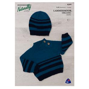 Naturally Lammermoor Organic - K399 Jumper & Beanie - Knitting Patterns