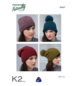 Naturally  K2 Yarns - N1477 Hats - Knitting Patterns