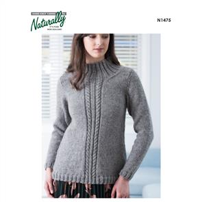 Naturally  K2 Yarns - N1475 Cable Sweater - Knitting Patterns