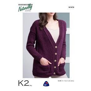 Naturally  K2 Yarns - N1474 Cardigan - Knitting Patterns