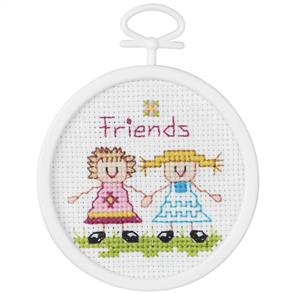 "Janlynn  Mini Counted Cross Stitch Kit 2.5"" Round - Friends"