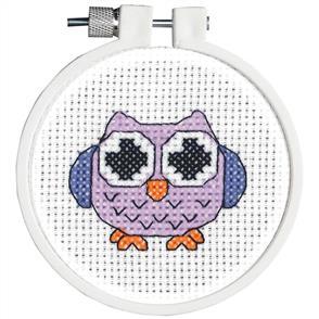 """Janlynn  Kid Stitch Mini Counted Cross Stitch Kit 3"""" Round - Owl"""