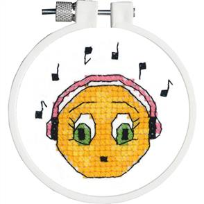"Janlynn  Kid Stitch Stamped Cross Stitch Kit 3"" Round - Singing Along"