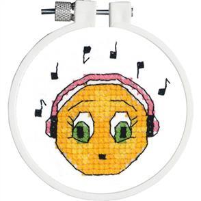 "Janlynn  Kid Stitch Stamped Cross Stitch Kit 3"" Round - Singing Along"