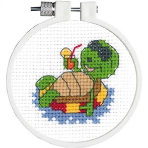 "Janlynn  Kid Stitch Mini Counted Cross Stitch Kit 3"" Round - Floating Turtle"