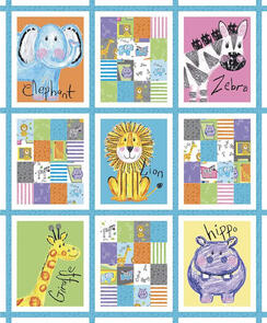 Riley Blake Colourful Friends - Animal 9 Patch Block Panel -
