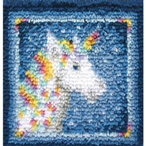 "Caron Wonderart  Latch Hook Kit - Unicorn - 12"" x 12"""
