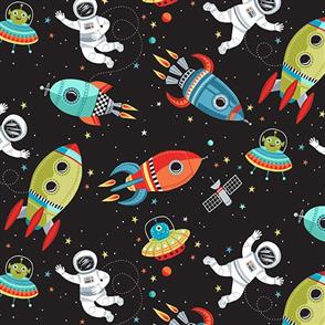 Makower  Outer Space Fabric - Outer Space Scene - 2267 Black