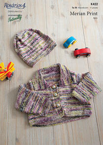 Naturally K422 Cropped Jacket and Hat Knitting Pattern