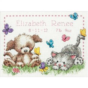 Dimensions  Pet Friends Birth Record  Cross Stitch
