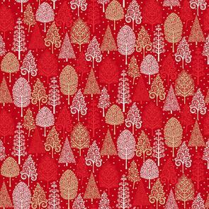 Makower Scandi Trees - 2356 - Christmas - Red