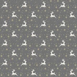 Makower Scandi Reindeer - 2357 - Christmas - Grey / Silver
